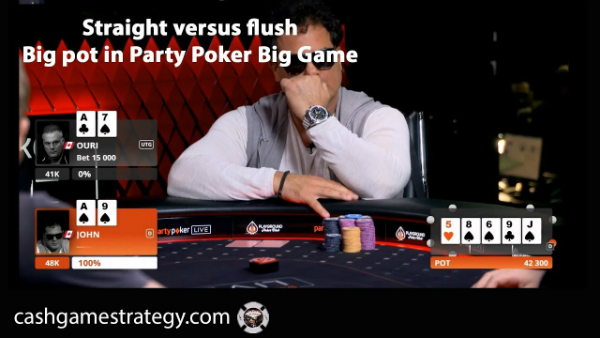 Straight Versus Flush Big Pot In High Stakes Cash Game