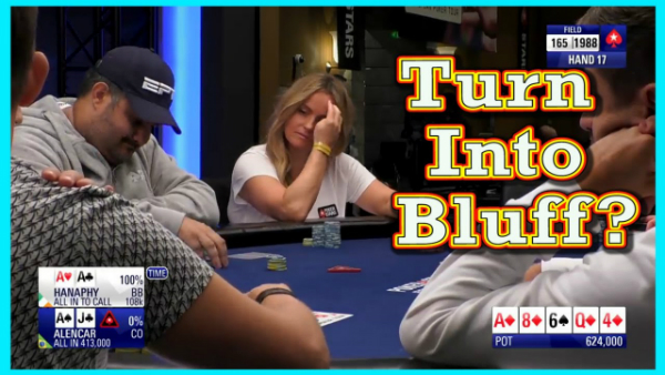 Should He Turn Top Pair Into a Bluff on a 4-Flush Board